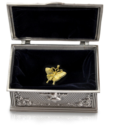 guardian angel keepsake shown open with velvet interior