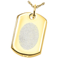 Oval Outlined Fingerprint Style shown on dog tag pendant