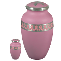 Power of Pink Breast Cancer Awareness mini and full-size urn