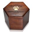 Wholesale Paw Print Hexagon Wood Pet Urn
