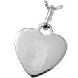Sterling Silver Heart Pendant- Natural Fingerprint style