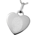 Oval Outlined Fingerprint style shown on heart pendant