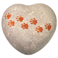 Wholesale Circle of Life Eco Pet Urn: Hand-painted Pawprints Heart Small