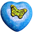 Wholesale Blue Hand-painted Butterfly Heart Small