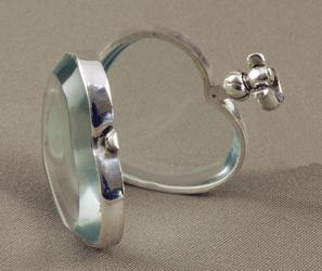 victorian glass heart locket shown open