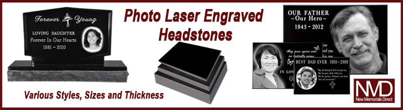 photo laser engraved headstone styles selection