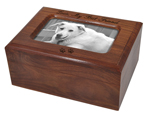 Memory Chest Wooden Box Dog Urn with Photo Window shown engraved