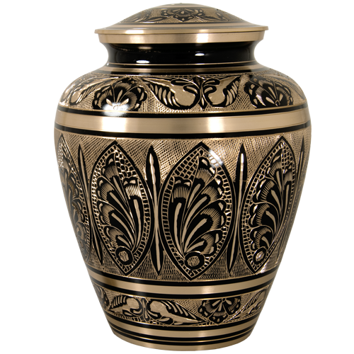 Wholesale Cremation Urn Ornate Etched Black And Brass