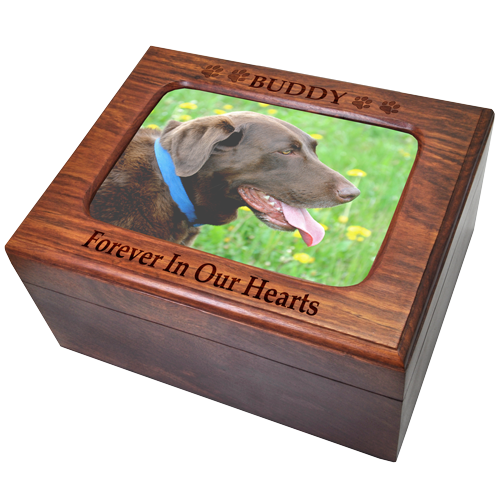 Wholesale Memory Chest Wooden Box Dog Urn With Photo