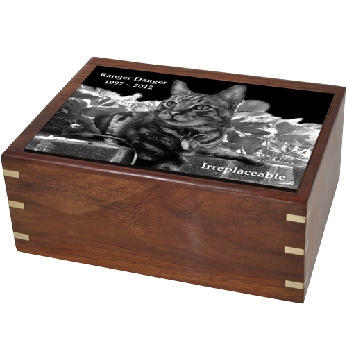 Wholesale Pet Urns Perfect Wooden Box Cat Urn With Photo Tile