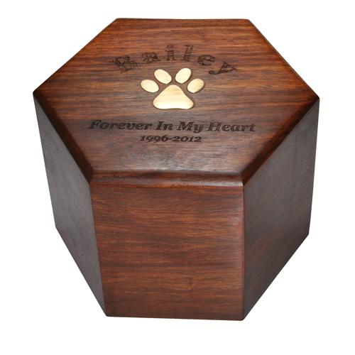 Wholesale Pet Cremation Wood Urns Paw Print Hexagon Wood