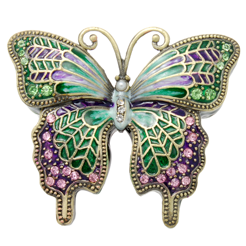 Wholesale Urn Keepsake Green Butterfly W Pink Crystals