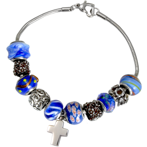 Wholesale Cremation Jewelry Remembrance Beads Urn Nightfall Blue Bracelet