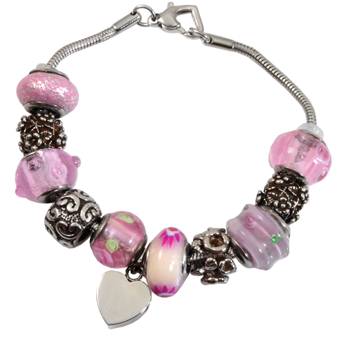 Wholesale Cremation Jewelry Remembrance Beads Urn Bracelet- Memorial Pink