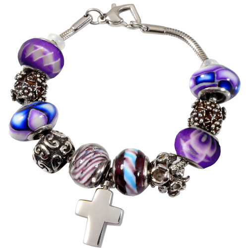 Wholesale Jewelry Remembrance Beads Heart Urn Charm Purple Bracelet