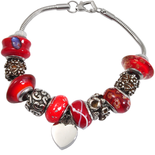 Wholesale Cremation Jewelry Remembrance Beads Urn Vermilion Red Bracelet