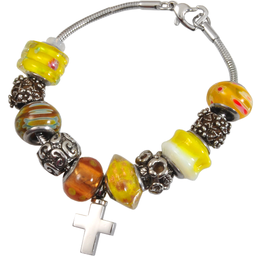 Wholesale Cremation Jewelry Remembrance Beads Urn Bracelet- Sunshine Yellow