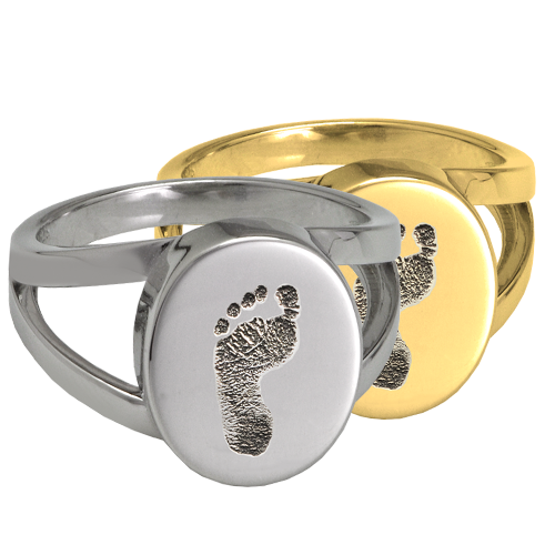 Wholesale Baby Footprint Oval Split Ring available in silver or gold
