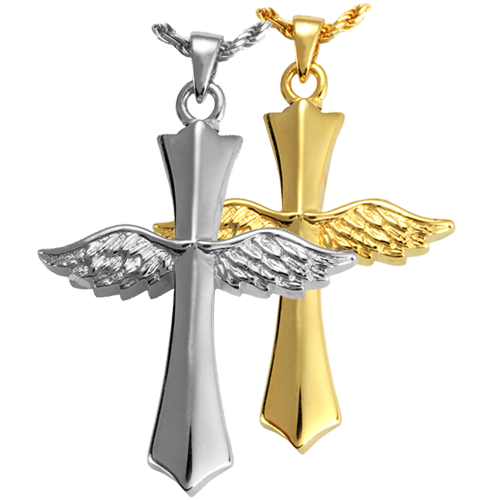 Wholesale Cremation Jewelry Winged Cross shown in silver and gold metals