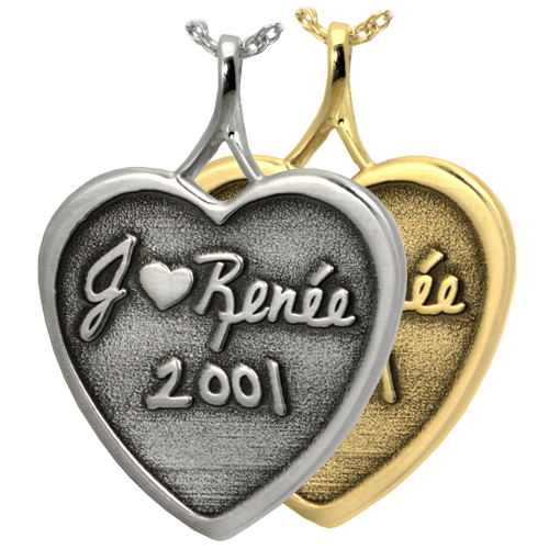 Wholesale 3D Handwriting Heart Keepsake Jewelry in silver or gold
