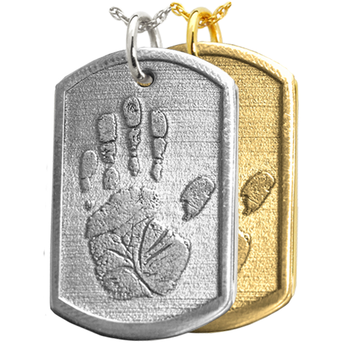 Wholesale 3D Handprint Dog Tag Keepsake in silver or gold