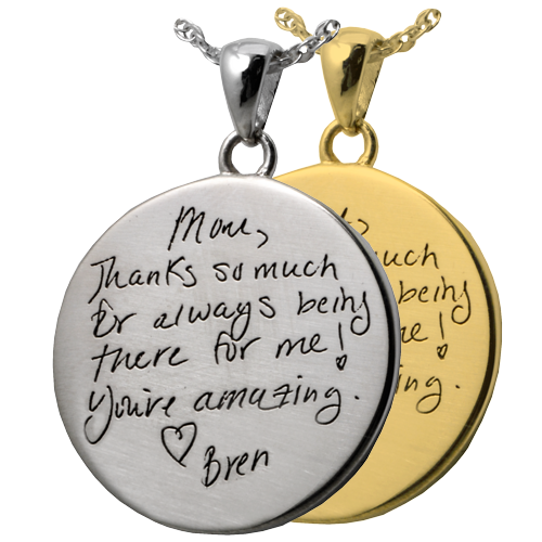 Handwriting on silver and gold round pendants