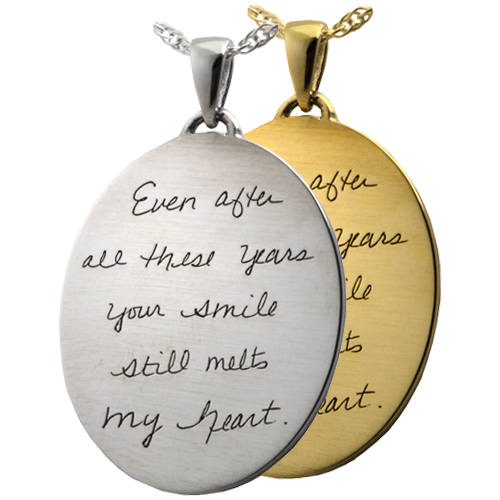 Personalized handwriting on necklace pendant