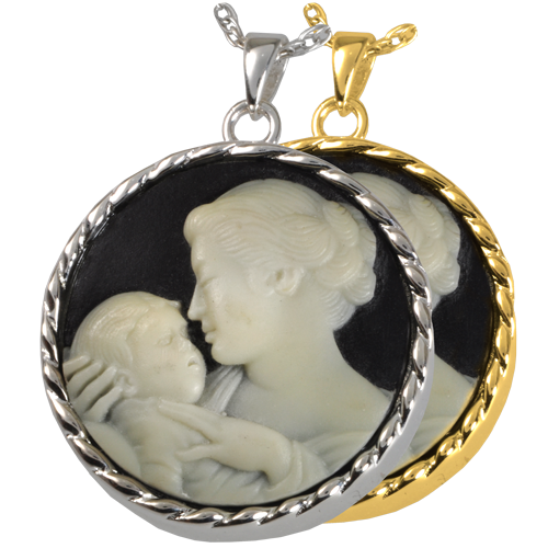 wholesale cremation jewelry mother 39 s embrace cameo black. Black Bedroom Furniture Sets. Home Design Ideas