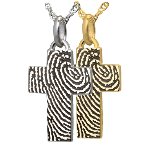 Wholesale Petite Cross Fingerprint Flat Charm in silver or gold
