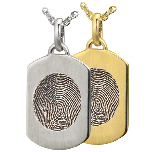 Petite Dog Tag Fingerprint Jewelry in silver & yellow gold
