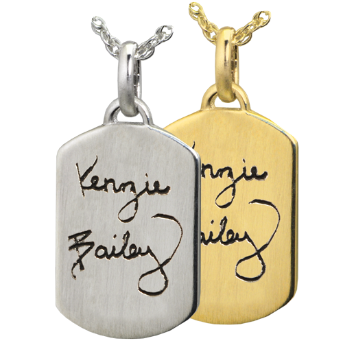 Wholesale Petite Dog Tag Handwriting Jewelry in silver or 14k gold