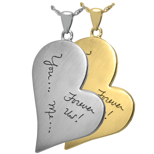 Personalized heart necklace keepsake with actual handwritten note