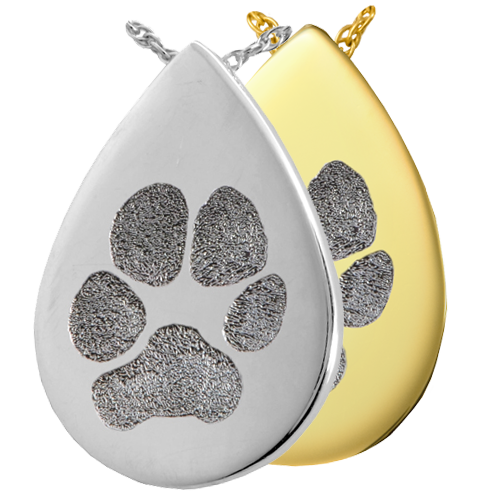 Wholesale B&B Teardrop Pawprint Jewelry shown in silver and gold