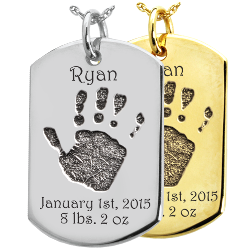 Wholesale Baby Hand-Print on Dog Tag Keepsake in silver or gold