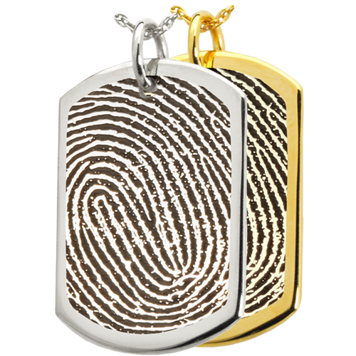 Wholesale Rim Fingerprint Dog Tag in silver and gold