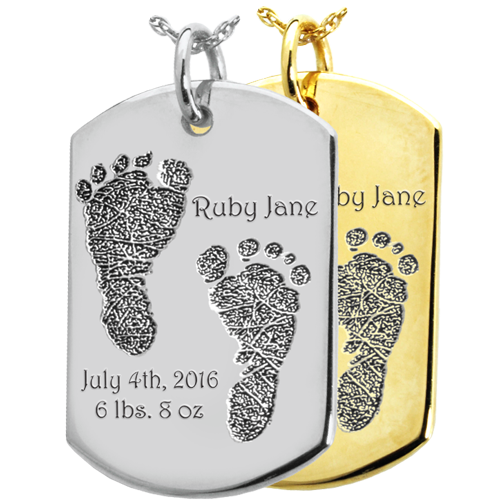 Wholesale Baby 2 Footprints on Dog Tag Keepsake in silver or gold