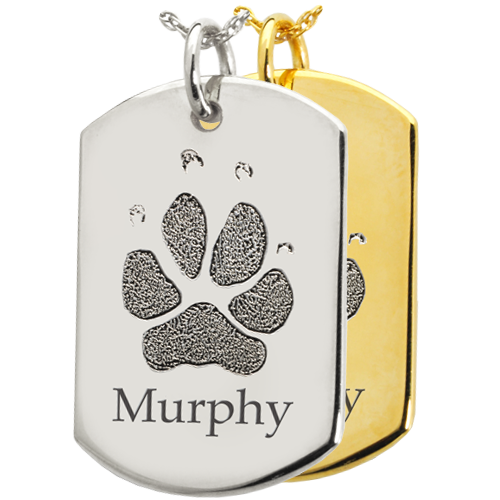 Flat Dog Tag Pawprint Jewelry in silver and gold shown engraved with name