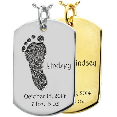 Wholesale Baby Foot-Print on Dog Tag Keepsake in silver and gold