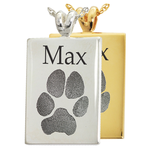 Rectangle Pawprint Jewelry with name engraved shown in silver and gold