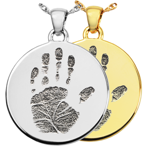 Round Handprint Jewelry shown in silver and gold