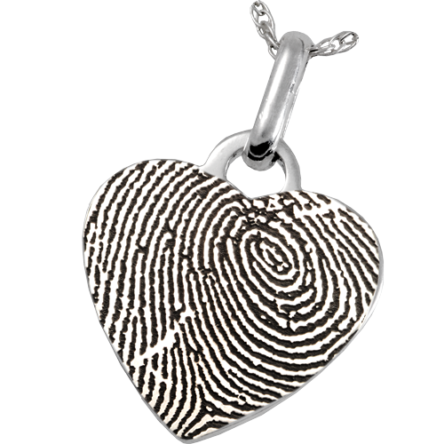 Full coverage fingerprint shown on heart pendant