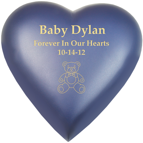 Wholesale Baby Urn: Brass Heart Violet shown with teddy bear engraving