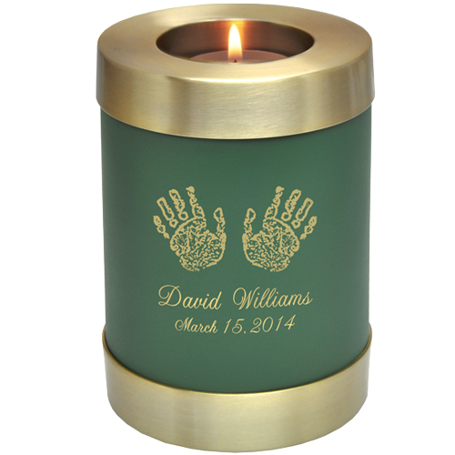 Sage Green Candle Holder Memorial shown with hands print