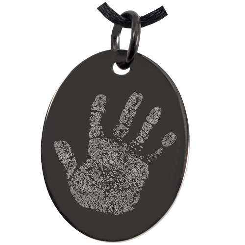 Wholesale Memorial Jewelry: Anodized Stainless Steel Oval Handprint
