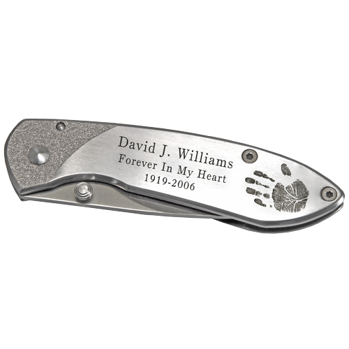 Wholesale Stainless Steel Pocket Knife- Handprint shown personalized