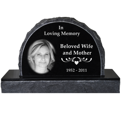 Wholesale Photo Laser Engraved Granite Headstone- Scalloped