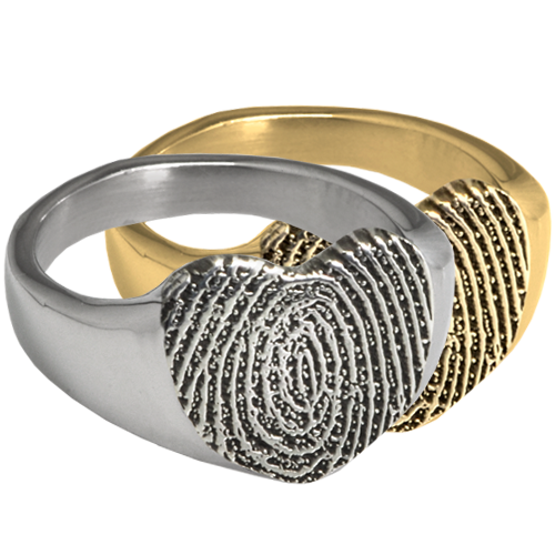Wholesale Bold Heart Fingerprint Ring in silver or gold