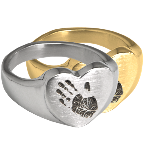 Wholesale Bold Heart Handprint Ring in silver or gold