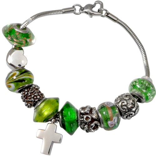 Wholesale Cremation Jewelry Remembrance Beads Urn Charm Bracelet- Green