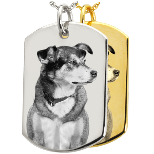 Wholesale B&B Flat Dog Tag Pet Photo Jewelry in silver and gold